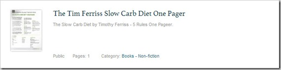 The Tim Ferris Slow Carb Diet One Pager